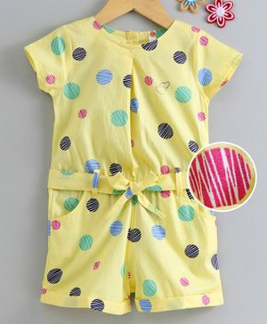 Dew Drops Short Sleeves Polka Dot Poplin Jumpsuit - Light Yellow
