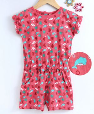 Dew Drops Short Sleeves Jumpsuit Whale Print - Peach