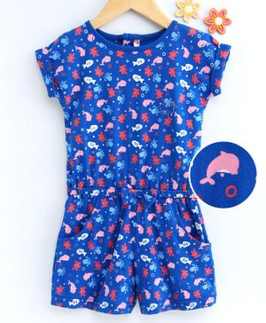 Dew Drops Short Sleeves Jumpsuit Whale Print - Royal Blue