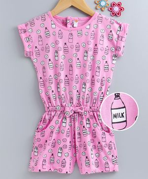 Dew Drops Short Sleeves Jumpsuit Cookie Print - Pink