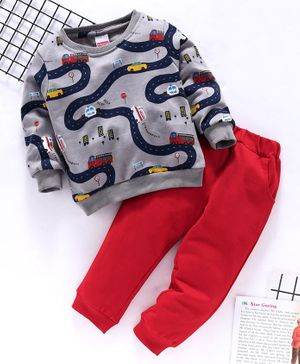 Babyhug Full Sleeves Set Vehicle Print - Grey