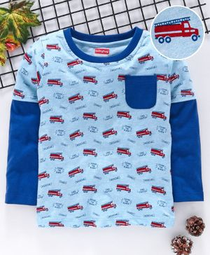 Babyhug Full Sleeves Tee Vehicles Print - Blue