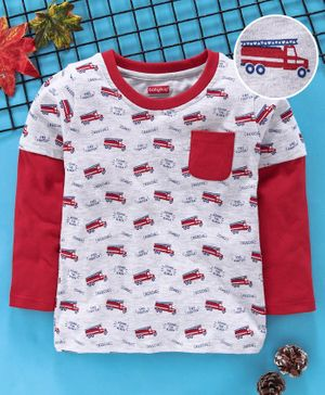 Babyhug Full Sleeves Tee Vehicles Print - Grey Red