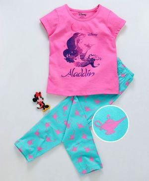 Tambourine Disney Princess Jasmine Print Half Sleeves Night Suit - Pink