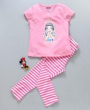 Tambourine Disney Snow White Print Half Sleeves Night Suit - Pink