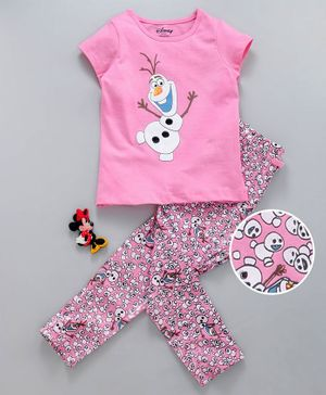 Tambourine Short Sleeves Olaf Print Night Suit - Pink