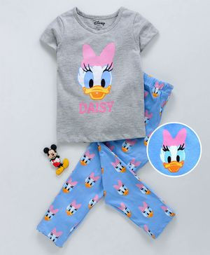 Tambourine Short Sleeves Daisy Duck Print Night Suit - Grey