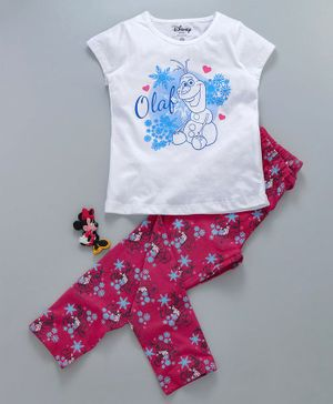 Tambourine Short Sleeves Olaf Print Night Suit - White & Maroon
