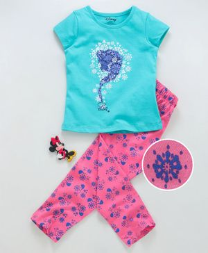 Tambourine Short Sleeves Elsa Print Night Suit - Green & Pink