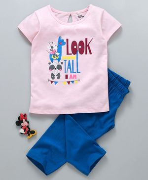Tambourine Short Sleeves Look How Tall I Am Minnie Mouse Print Night Suit - Pink & Blue