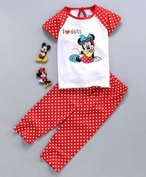 Tambourine Short Sleeves Minnie Mouse & Polka Dot Print Night Suit - Red