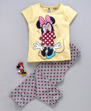 Tambourine Short Sleeves Minnie Mouse Print Night Suit - Yellow & Grey