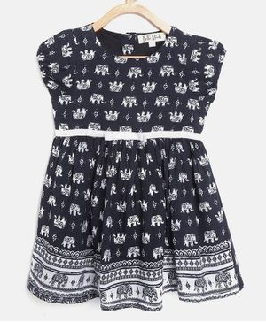 Bella Moda Cap Sleeves Elephant Print Dress - Blue
