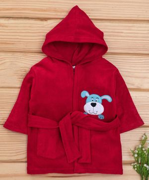 Babyhug Full Sleeves Bath Robe Dog Patch - Red