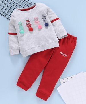 Babyhug Full Sleeves Tee & Bottoms Set 3D Kitty Design - Red Grey