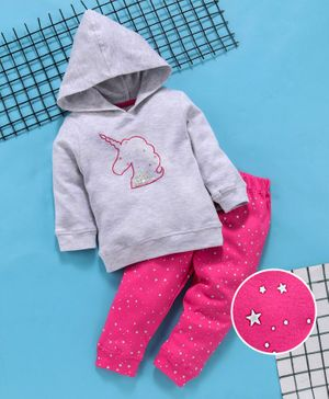 Babyhug Full Sleeves Hooded Sweatshirt With Bottom Unicorn Print - Grey Dark Pink