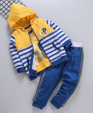 Babyhug Full Sleeves Hooded Sweat Jacket And Half Sleeves Tee With Lounge Pant Set Text Print - Yellow Navy