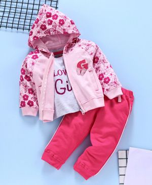 Babyhug Full Sleeves Hooded Sweat Jacket And Half Sleeves Tee With Lounge Pant Set Sequin Butterfly Patch - Pink