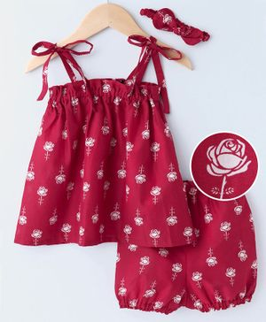 Kapaasa Rose Printed Sleeveless Frock With Bloomers & Headband - Pink