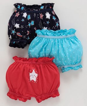 Babyoye Cotton Bloomers Multi Print Pack of 3 - Multicolor