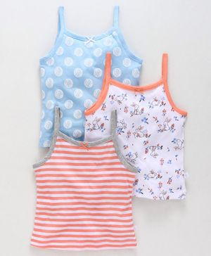 Babyoye Cotton Camisoles Printed & Striped Pack of 3 - Orange Blue White