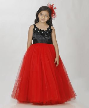Indian Tutu Sleeveless Flower Decorated Necklace Tulle Flare Gown - Red