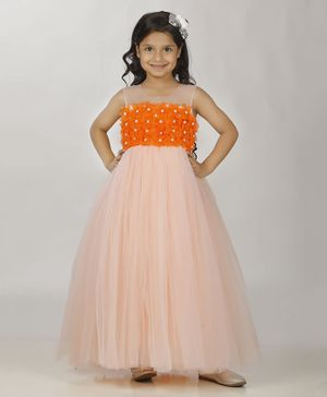Indian Tutu Sleeveless Flower Decorated Pearl Detailed Gown - Peach