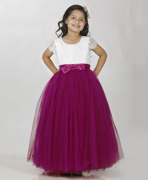 Indian Tutu Sleeveless Lace Work Ball Gown - Purple