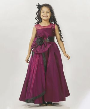 Indian Tutu Sleeveless Glitter Finish Flower Decorated Gown - Purple