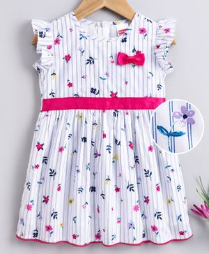 Babyhug Flutter Sleeves Printed Frock - White