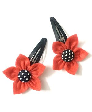 Knotty Ribbons Pair Of Flower Hair Clips - Red