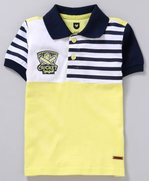 612 League Striped Half Sleeves T-Shirt - Yellow