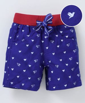 612 League All Over Birds Printed Elasticated Shorts - Blue