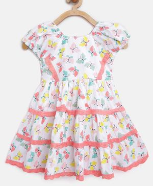 Aww Hunnie Butterfly Print Short Sleeves Dress - White