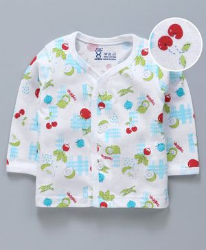 Pink Rabbit Full Sleeves Vests Fruit Print - White
