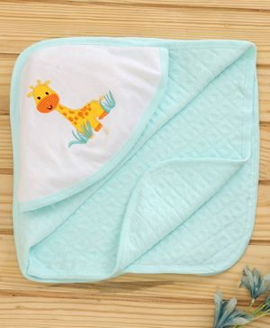 Babyhug Hooded Towel Giraffe Embroidered - Aqua Green
