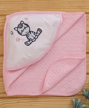 Babyhug Hooded Towel Cat Embroidered - Blue