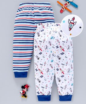 Babyhug Full Length Cotton Pajamas Stripes & Rocket Print Pack of 2 - White Blue