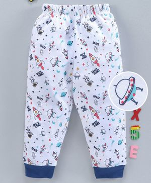 Babyhug Full Length 100 % Cotton Lounge Pant Space Print - White Blue