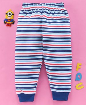 Babyhug Full Length 100 % Cotton Striped Lounge Pant - Blue