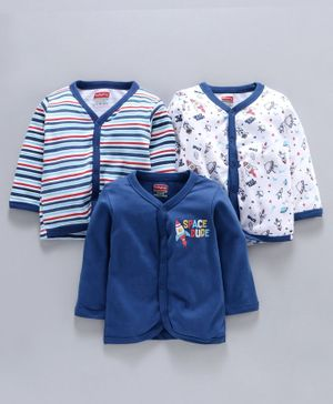 Babyhug Full Sleeves 100% Cotton Vest Pack of 3 - Navy