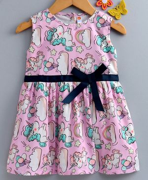 Dew Drops Sleeveless Frock Unicorn Print - Pink