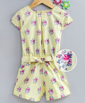 Dew Drops Half Sleeves Poplin Jumpsuit Floral Print - Yellow