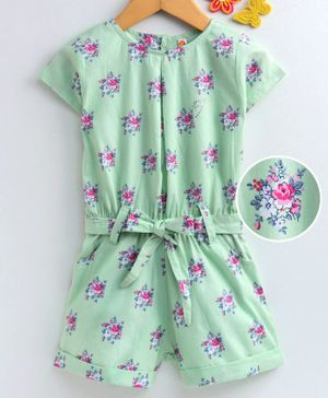 Dew Drops Half Sleeves Poplin Jumpsuit Floral Print - Green