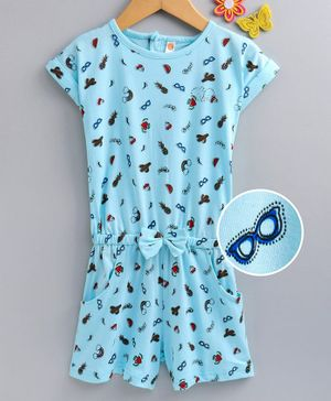 Dew Drops Half Sleeves Sinker Fabric Jumpsuit Multi Print - Aqua Blue