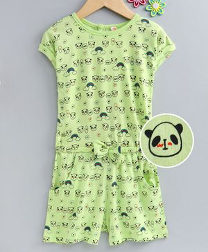 Dew Drops Half Sleeves Sinker Fabric Jumpsuit Panda Print - Green