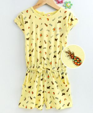 Dew Drops Half Sleeves Jumpsuit Multi Print - Yellow
