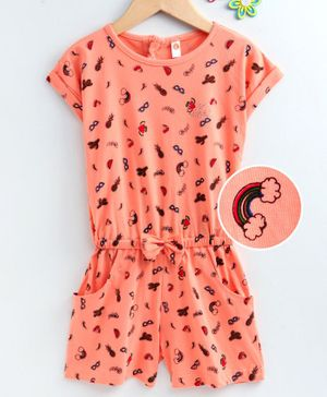 Dew Drops Half Sleeves Jumpsuit Multi Print - Orange