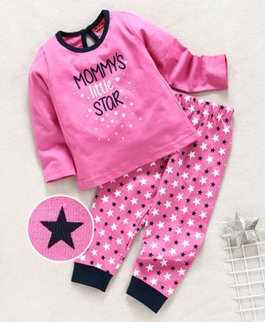 Babyhug Full Sleeves Night Wear Star Print - Pink