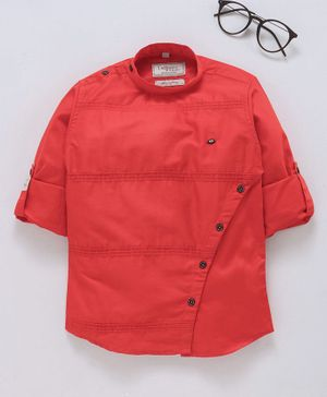 Dapper Dudes Solid Twill Roll Up Full Sleeves Shirt - Red